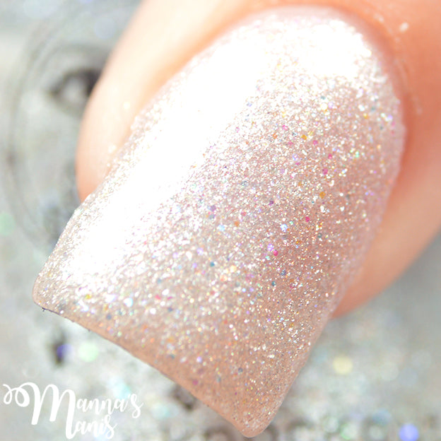 white shimmer glitter nail polish crystal knockout elysian afterlife greek underworld
