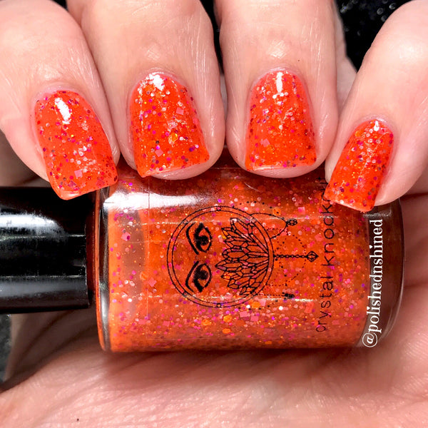 bright orange glitter jelly nail polish crystal knockout gettin' jiggy miami slammin' 90s