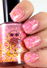 bright pink crelly glitter nail polish crystal knockout little miss taffy