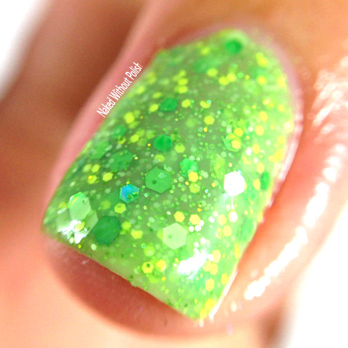bright green crelly glitter nail polish crystal knockout magical cabbage storyteller magic