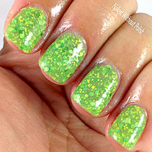 bright green glitter crelly nail polish crystal knockout magical cabbage storyteller magic
