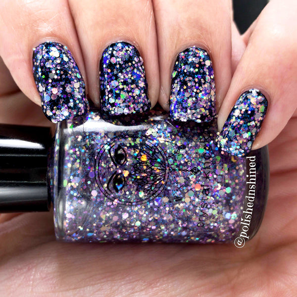 purple blue holo glitter topper nail polish crystal knockout paris waltz