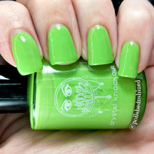 bright green neon solid cream nail polish crystal knockout peridot hills