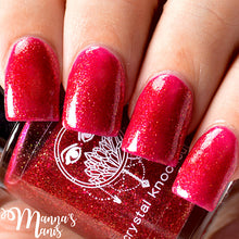 red shimmer gold flakies nail polish crystal knockout persephone's pomegranate greek underworld