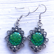 Emerald Green Floral Earrings