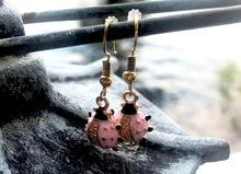 Pink Ladybug Earrings