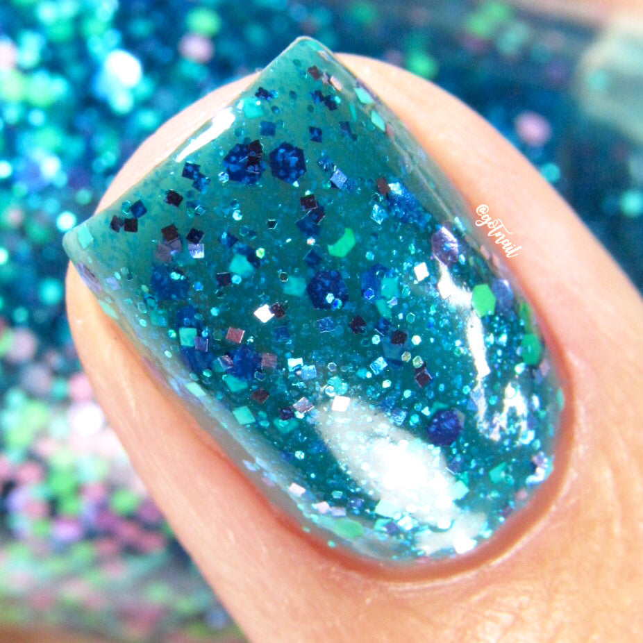 blue aqua teal glitter nail polish crystal knockout possible worlds