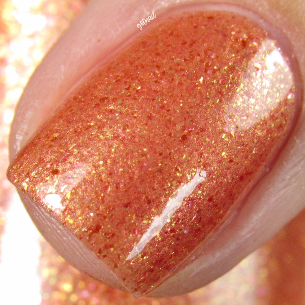 orange peach gold shimmer flakie nail polish crystal knockout the chariot