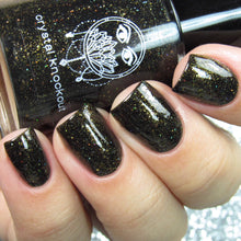 black gold shimmer flakie nail polish crystal knockout the devil