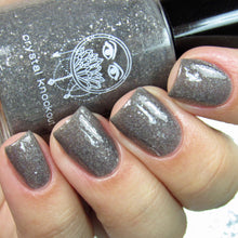 silver gray flakie nail polish crystal knockout the hanged man