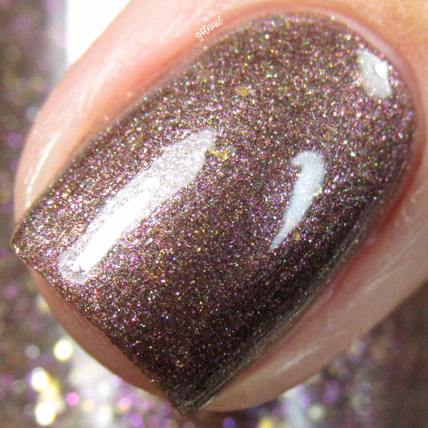 gold brown purple flakie nail polish crystal knockout the hermit