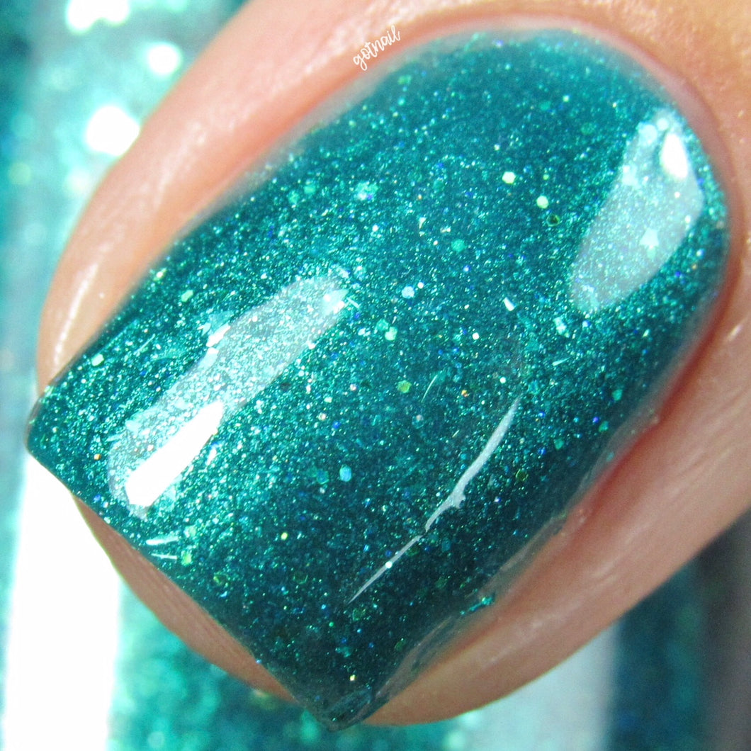 turquoise teal shimmer flakie nail polish crystal knockout the hierophant