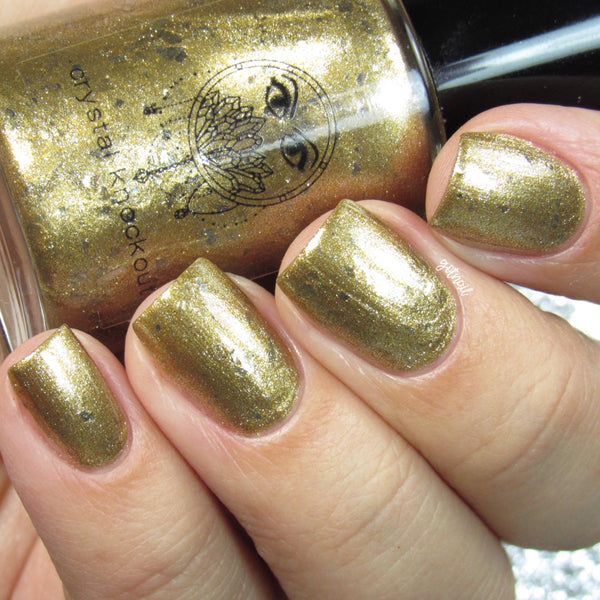 metallic gold silver flakes nail polish crystal knockout the magician