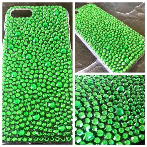 bright green bling rhinestone cell phone case crystal knockout iphone galaxy