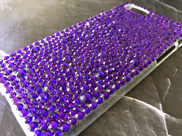 purple violet bling rhinestone cell phone case crystal knockout iphone galaxy