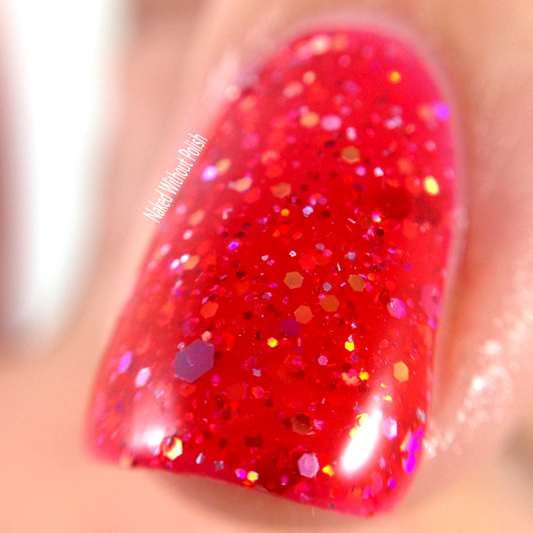 red jelly glitter holo nail polish crystal knockout they call me mimi