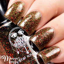 black gold red glitter nail polish crystal knockout throne of hades