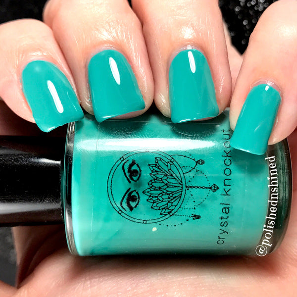 teal aqua tiffany blue nail polish crystal knockout turquoise shade
