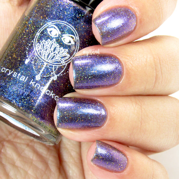 purple blue multichrome gold glitter nail polish crystal knockout walk on the stars