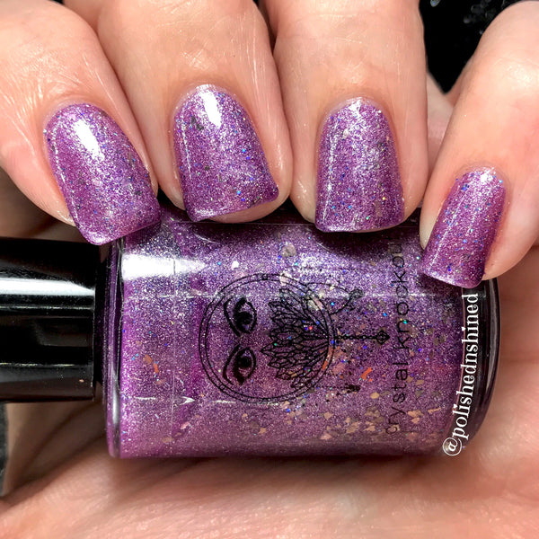 purple metallic shimmer flakies nail polish crystal knockout yes your majesty