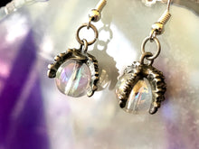 dragon claw iridescent bubble silver dangle earrings