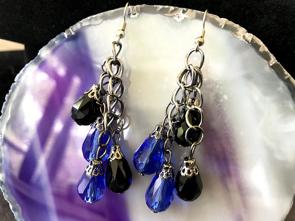 Serena Crystal Drops - Blue, Black