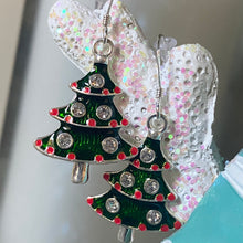 Christmas Tree Enamel Resin Crystal Earrings