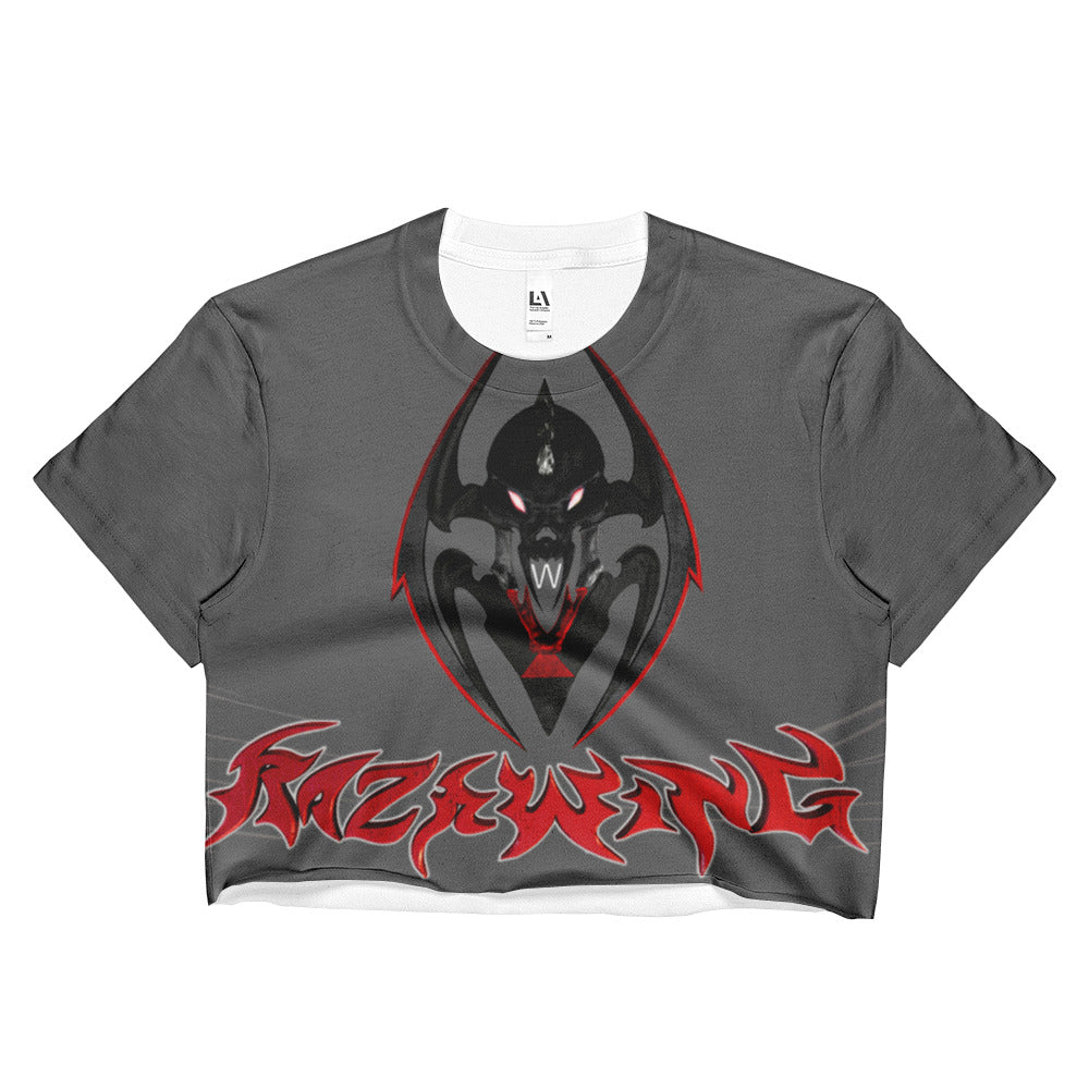 Razrwing Dark Crest Brand Collection RAZRWING SNATCH SEDUCTION STORY WIDOW CREST GREY Crop Top Front