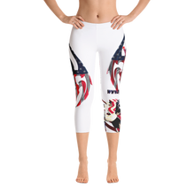 Razrwing Dark Crest BrandRAZRWING Scales, Stars, and Stripes Capri Leggings Front Barefoot