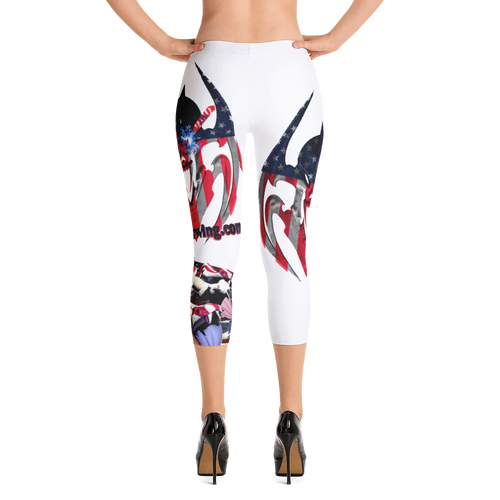 Razrwing Dark Crest Brand Collection RAZRWING Scales, Stars, and Stripes Capri Leggings Back Heels
