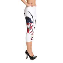 Razrwing Dark Crest Brand Collection RAZRWING Scales, Stars, and Stripes Capri Leggings Left Side Heels