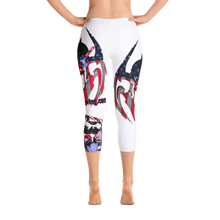 Razrwing Dark Crest Brand Collection RAZRWING Scales, Stars, and Stripes Capri Leggings Back Barefoot