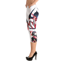 Razrwing Dark Crest Brand Collection RAZRWING Scales, Stars, and Stripes Capri Leggings Right Side Heels