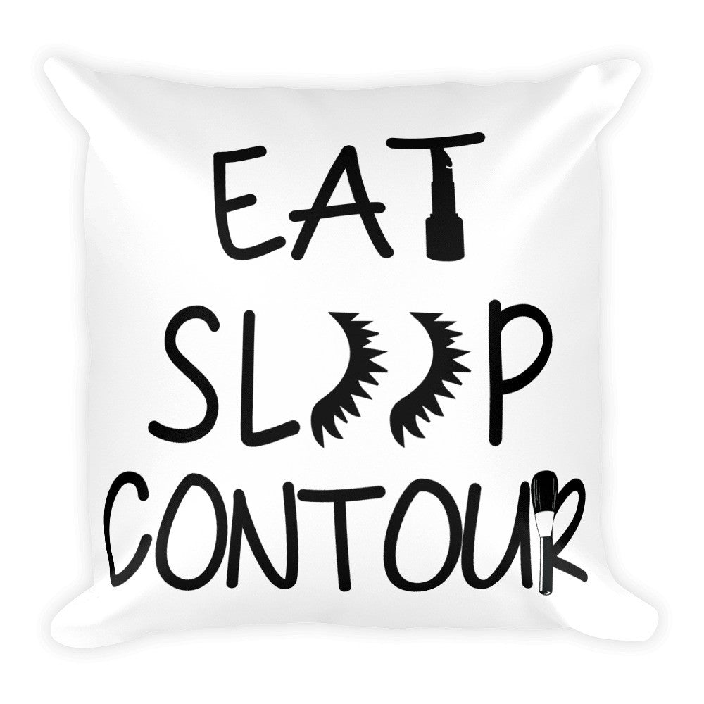 """Eat Sleep Contour"" Square Pillow"