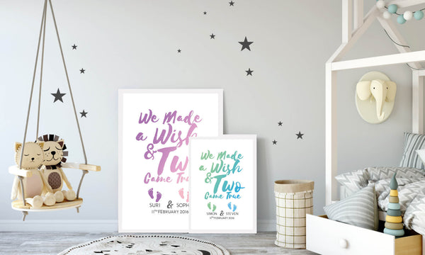 Our Playful Personalised Twins Prints Come In An Array Of Fun Colours To  Mark The Gender Of Each Twin, Capturing Individuality In One Wall Art  Piece, ...