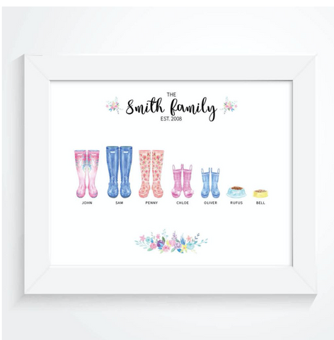 Personalised Family Welly Print Mothers Day