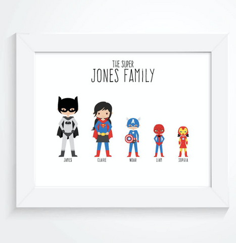 Personalised Family SuperHero Print Mothers Day