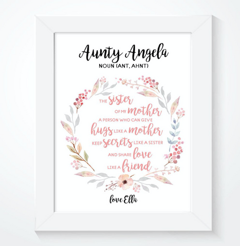 Special Aunty Mothers Day Personalised Print