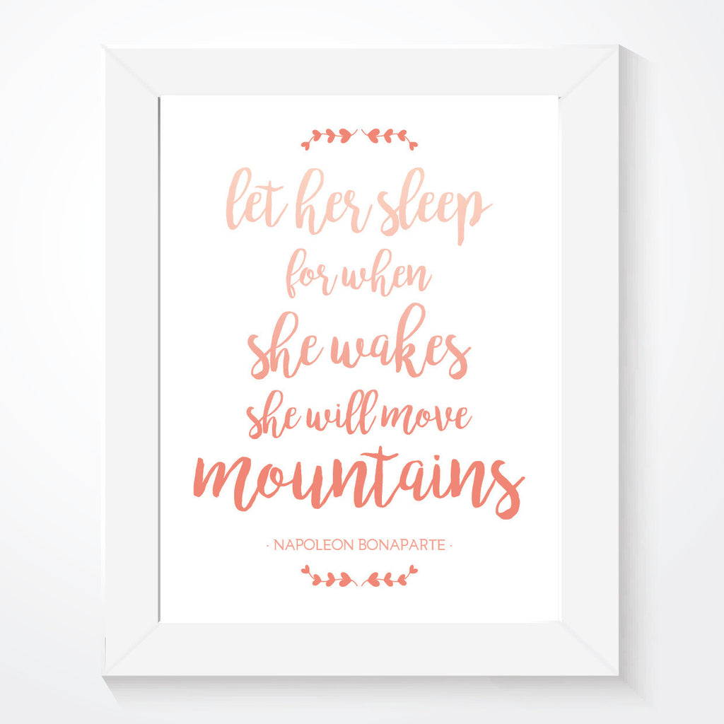 Let Her Sleep Print Quote Girls Print