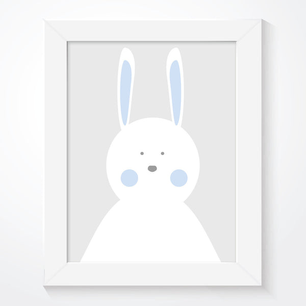 Boys Blue Rabbit Nursery Print