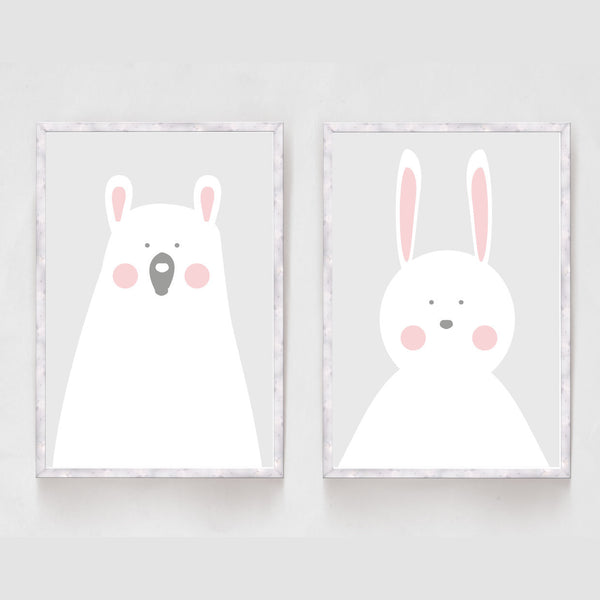 Set of 2 Bear and Rabbit Prints