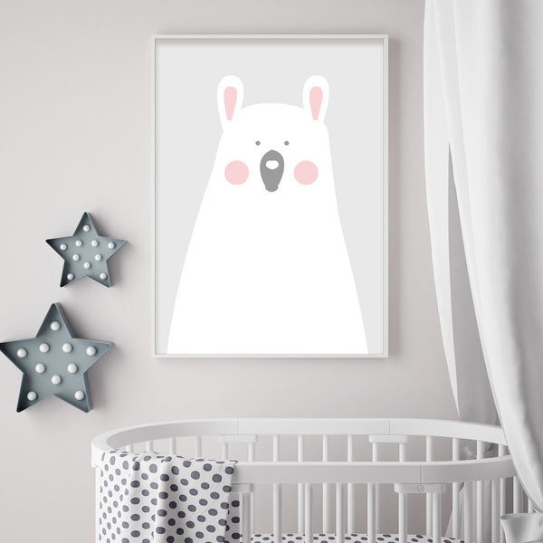 Pink Girls Bedroom Bear Print