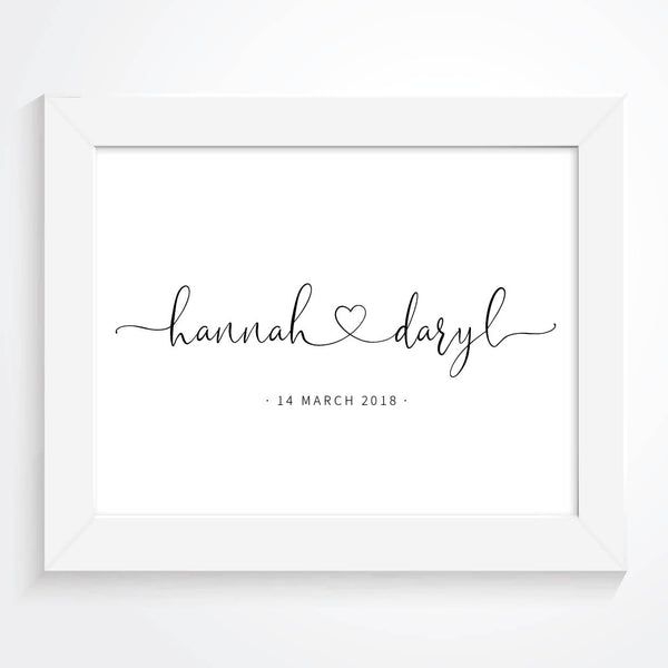 Personalised Couples Love Heart Print - Couture Moments