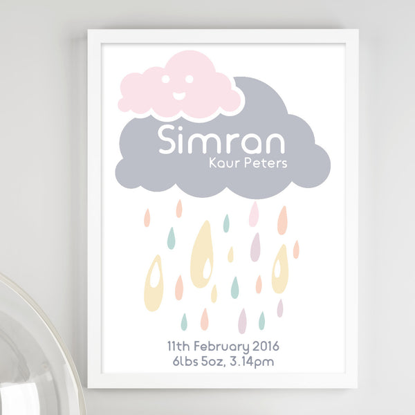 Personalised Cloud Baby Birth Print - Couture Moments