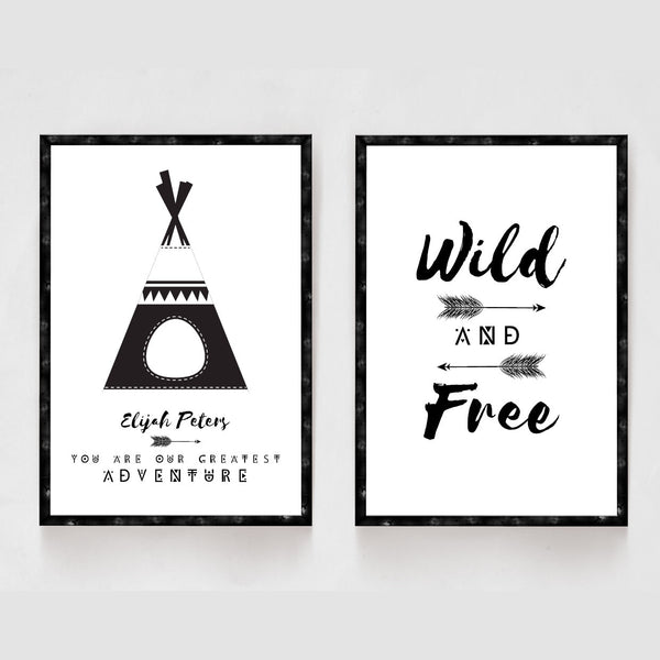 Set of 2 Boys Scandinavian Tepee Prints