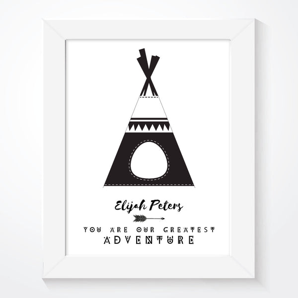 Personalised Boys Teepee Print