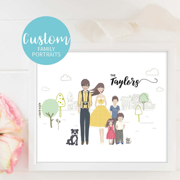 Personalised Custom Family Portrait Print Cat Dog