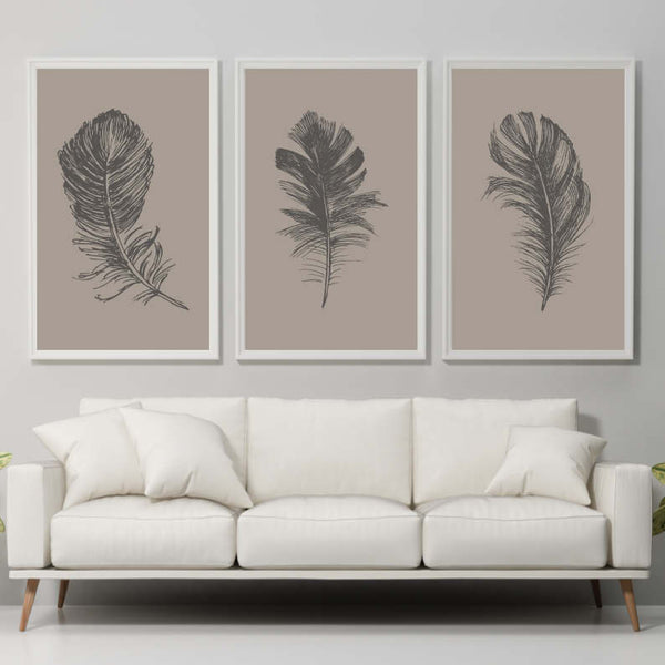 Set of 3 Feather Prints Home Decor