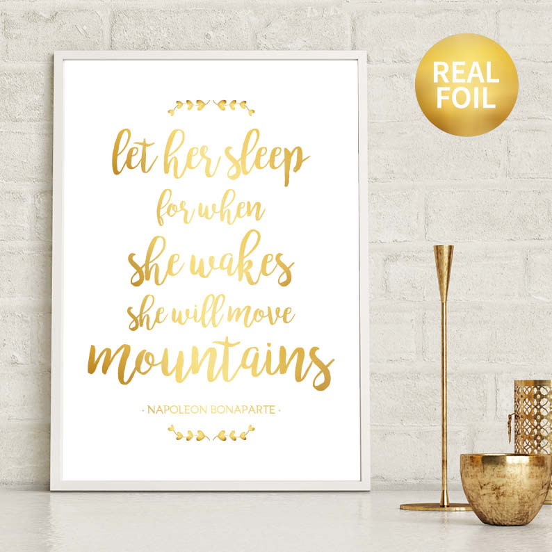 Let Her Sleep Nursery Print Foil