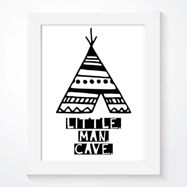 Scandinavian Teepee Little Man Cave Black and White Print